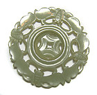 Chinese Jade Medallion with Butterflies + Moving Parts
