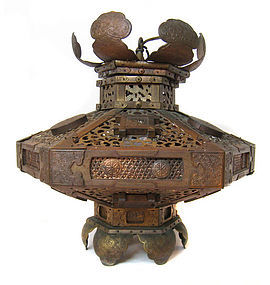 Japanese Antique Gilt Copper Hanging Temple Lantern