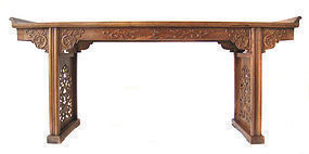 Chinese Large Huanghuali Altar Table with Dragons