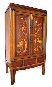 Chinese Antique Cabinet with Wood Inlay