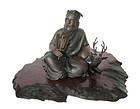 Japanese Bronze Figure of Jurojin and Deer by Tokumitsu