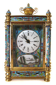 Chinese Cloisonne Clock with Painted Figures
