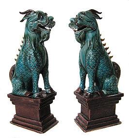 Chinese Antique Polychrome Ceramic Pair of Qilin