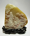 Chinese Soapstone Pebble with Three Luohan