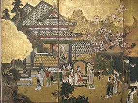 Japanese Edo Period Battle of Flowers Screen Painting
