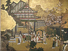 Japanese Edo Period Battle of Flowers Screen Painting