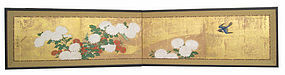 Japanese Antique 2 Panel Screen with Chrysanthemums