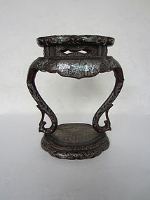 Chinese Lacquer Stand with Inlay