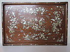 Chinese Antique Hardwood with Shell Inlaid Opium Tray
