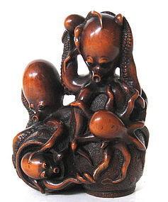 Japanese Antique Boxwood Okimono of Octopus Family