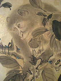 Japanese Antique Shoji Screen with Monkeys in Tree