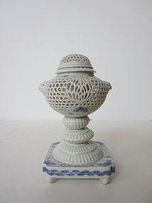Japanese Antique Hirado Reticulated Censer