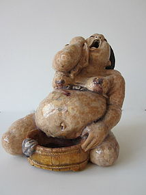 Japanese Ceramic Study of a Woman Giving Birth