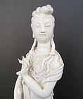 Antique Chinese Blanc de Chine Kwan Yin Statue