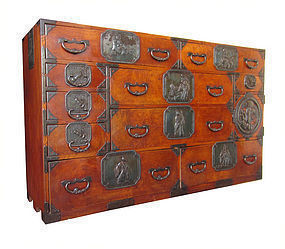 Japanese Antique Rare Large All Keyaki Sendai Tansu