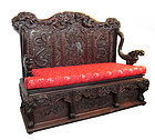 Japanese Antique Carved Dragon Bench