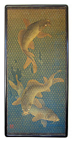 Japanese Antique Large Painting of Carp Escaping Net