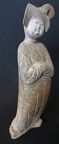 Chinese Tang Dynasty Tomb Pottery Figure of Fat Lady