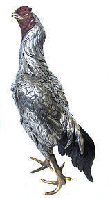 Japanese Large Okimono Silver Rooster