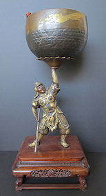 Japanese Gilt Bronze Samurai Warrior Holding Bell Bowl
