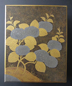 Japanese Antique Lacquer Fumibako with Hydrangeas