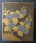 Japanese Antique Lacquer Fumibako with Hydrangeas