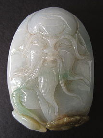 Chinese Carved Jadeite Pebble of Lucky God