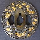 Antique Japanese Tsuba motif of Chrysanthemums