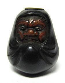 Japanese Antique Fine Shakudo Daruma Ojime