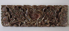 Indonesian Balinese Carved Wooden Polychrome Panel