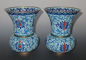 Antique Chinese Pair of Cloisonne Vases