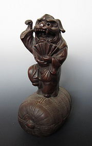 Japanese Bizen Daikoku Dancing on Rice Barrel