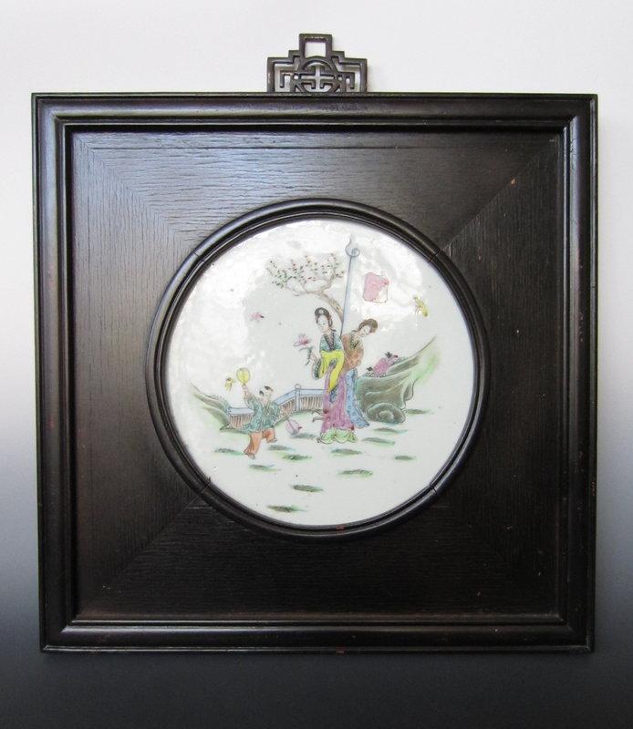 Chinese Polychrome Porcelain Framed Panel