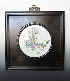 Chinese Polychrome Porcelain Framed Panel