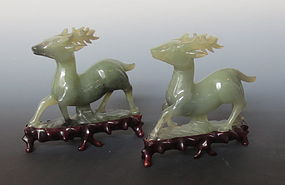Vintage Chinese Pair of Agate Deer