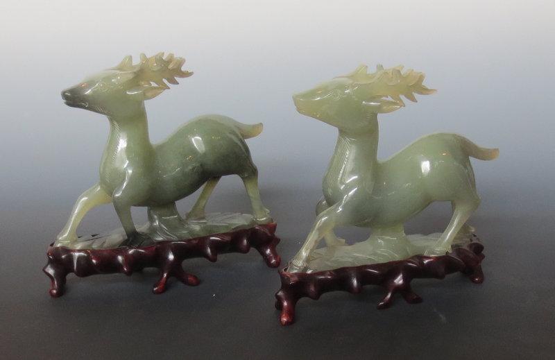 Vintage Chinese Pair of Serpentine Deer