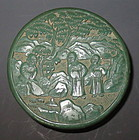 Antique Chinese Green Cinnabar Carved Box
