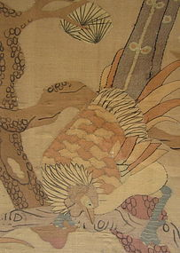 Chinese Antique Silk Kesi of Birds and Flowers