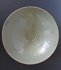 Korean Koryo Period Celadon Bowl with Floral Pattern