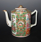 Antique Chinese Rose Canton Teapot