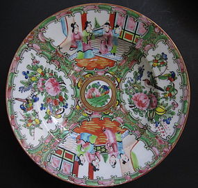 6 Antique Chinese Canton Rose Medallion Coup Plates