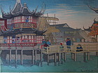 Woodblock Print of Shanghai by Elizabeth Keith