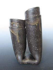 Mashiko Ware Tubular Vase By Hasegawa Tsugio