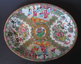 Antique Chinese Rose Canton Serving Bowl