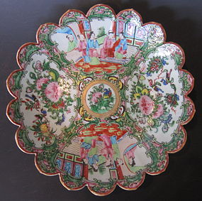 Antique Chinese Rose Canton Scalloped Serving Dish