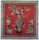 Chinese Antique Silk Embroidered Panel with Dragon Vase
