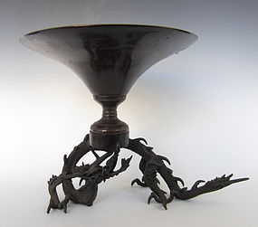 Antique Japanese Bronze Dragon Usubata