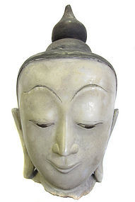 Beautiful Burmese Antique Marble Head of Buddha