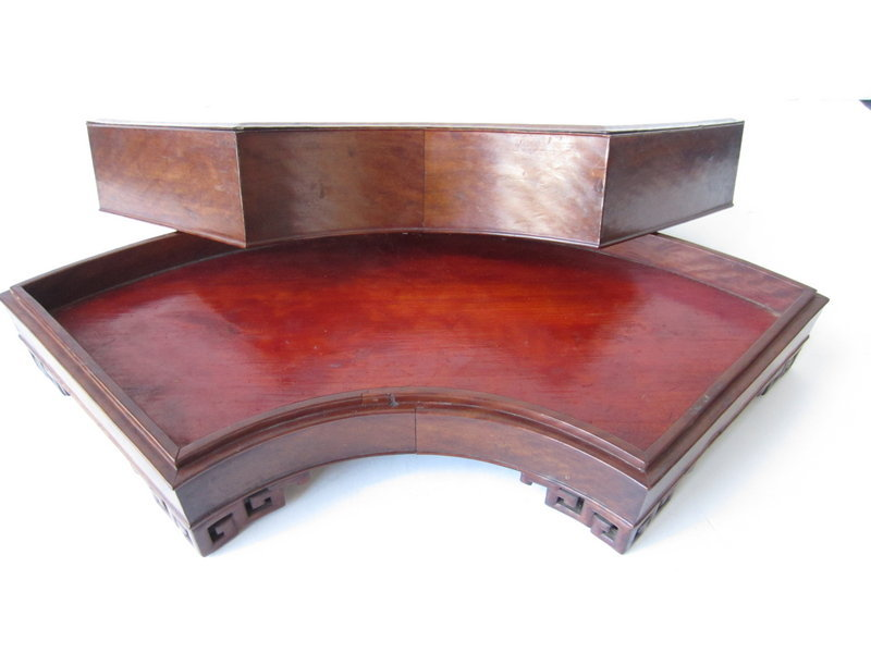 Chinese Fan Shaped Hardwood Container