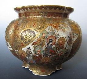 Japanese Antique Satsuma Lobed Vase with Genre Scenes